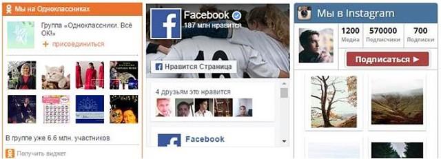 Социальные Блоки на вашем сайте.